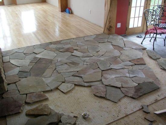 Монтаж камня на пол и стены